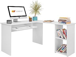 COMIFORT Escritorio Forma L - Mesa de Estudio con Estantería de Estructura Firme Moderna y Minimalista con 2 Baldas Espac...
