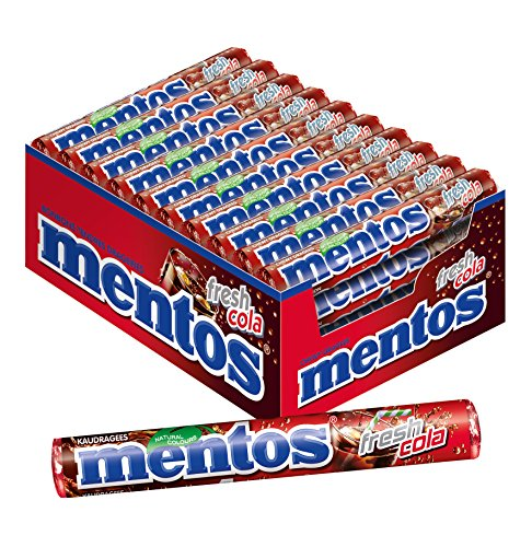 Mentos Fresh Cola, 40 Rollen Bonbons, Dragees mit Cola-Geschmack, Multipack Kaubonbon