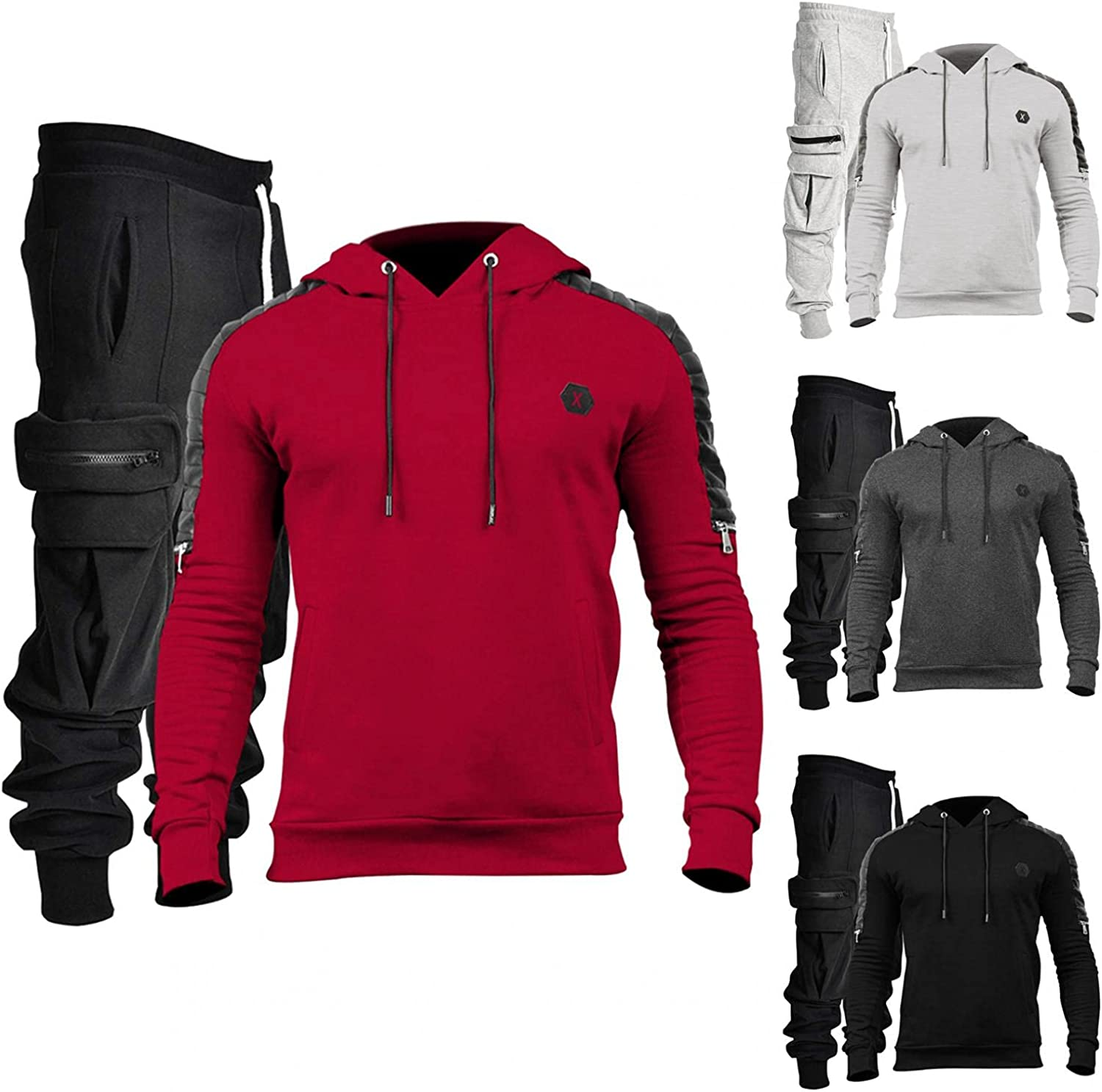 Men's Hooded Sweatshirt Tracksuits Sets Casual Hoodies Pullover & Cargo Pants Classic Regular Fit Sportwear Outfits