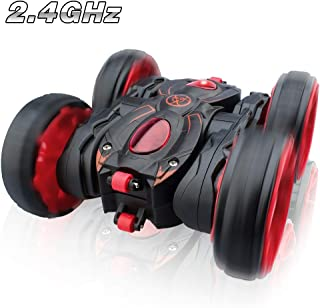 Remote Control Car, RC Stunt Car 2.4Ghz 8 Mph High Speed All Terrain Off Road 4WD Stunt Car, Double Sided 360° Rotation & Flips with 6 AAA Batteries Included for 3-12 Years Old Boys & Girls
