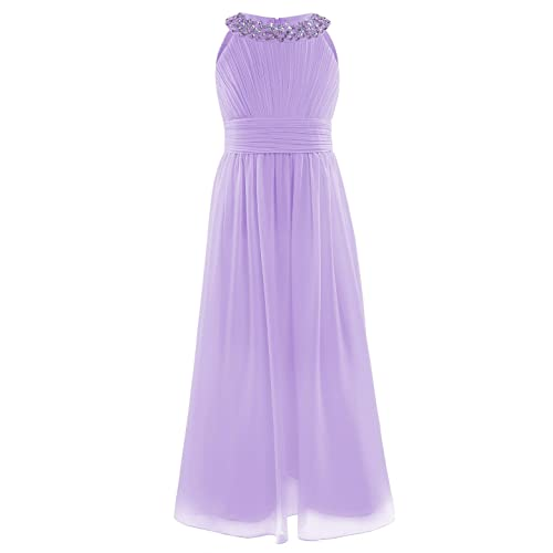 183332d536a iiniim Girl s Sequined Halter-Neck Sleeveless Chiffon Long Gowns Pageant  Party Prom Wedding Bridesmaid Flower