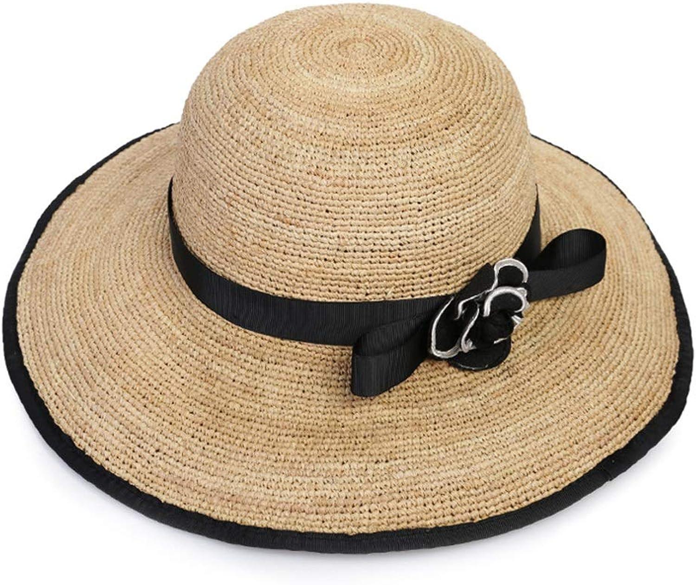 Lady Boater Sun Caps, Female Summer Travel Beach Hat Flower Hat Cool Sun Hat