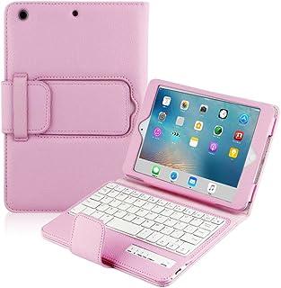 BoriYuan iPad Mini Keyboard Case- Detachable Removable Wireless Bluetooth Keyboard Folio Flip Protective Slim PU Leather Cover Case Stand For Apple Mini 4/ Mini 3/ Mini 2 with Retina/ Mini 1 (Pink)