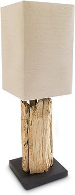 Relaxdays 10019075 Lampe de table ROBINSON fait main Luminaire abat-jour en lin HxlxP: 72x22x22cm couleur naturelle