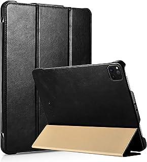 iCarer iPad Pro 11 بوصة (2020) جراب جلد أصلي كلاسيكي مصنوع يدويًا من الجلد الذكي الاستيقاظ / النوم ثلاثي الطي جراب قلاب (أ...