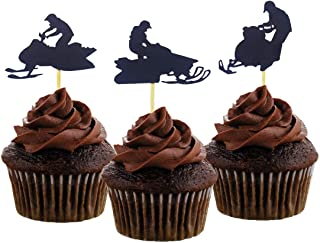 Morndew 24 PCS Snowmobile Cupcake Toppers for Sport Party Baby Shower Birthday Party Wedding Party Decorations