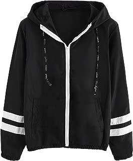 Women's Casual Color Block Drawstring Hooded Windbreaker Jacket