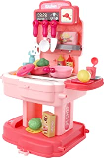 Kitchen Pretend Play Toys, Little Kitchen Playset Backpack, Toy Backpack 2 in 1, 34pcs Simulation Props, Removable and Eas...