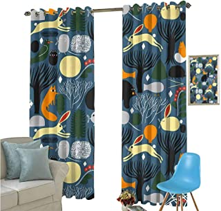 All Over Pattern Bitmap Animal Rabbit Patio Door Curtains for Bedroom Thermal Insulated Noise Reducing W72 x L72