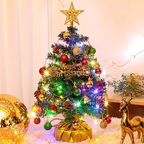 20' Tabletop Mini Christmas Tree Set with 2 LED Lights, Star Treetop,Ornaments Balls,Bells and Pine Cones ,Best DIY Christmas Decorations