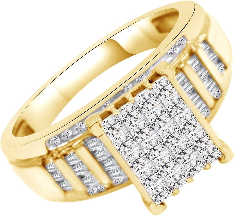 AFFY Ring Aschenputtel Sterling-Silber 925 18 Karat verGoldet 0,5 Karat