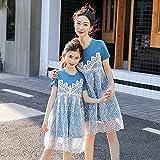 Vestido De Madre E Hija,Moda Verano Doble Capa Encaje Camisa Azul Vestido Familia Trajes A Juego Fiesta Vestido De Playa para Las Mujeres Niñas Vacaciones Casual, Mamá M