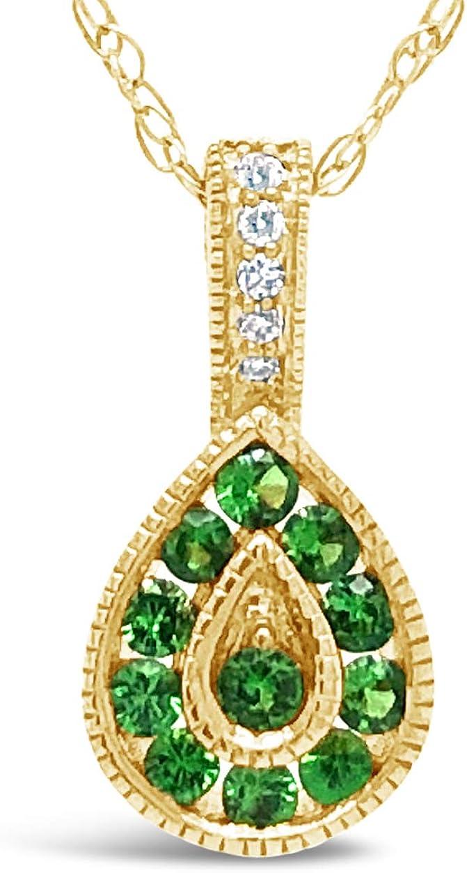 10K Cheap sale Yellow Gold Garnet Gemstone Diamond And Inexpensive Necklac Pendant Halo