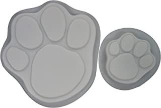 Dog Cat Paw Print 13 & 7 in Stepping Stone Concrete Plaster Mold Set 1009