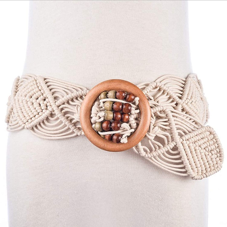 Canvas Belt Buckle Folk Style Chain Belt Ladies Handmade Wax Rope Woven Wooden Belt (color   White, Size   100135CM)