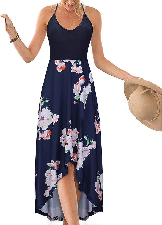 ONHUON Boho Dresses for Women,Womens Casual Sleeveless Sundress Open Back Asymmetrical Hight Waist Summer Dress