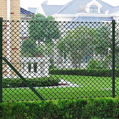 Tidyard Malla de Alambre con Postes y Todos Los Accesorios,Valla de Jardín,Decoración Protección para Hogar y Propiedad,PVC Verde 1,5x25M