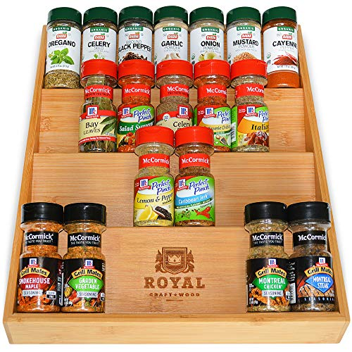 Bamboo Kitchen Drawer Organizer - 4-Tier Bamboo Spice Rack...