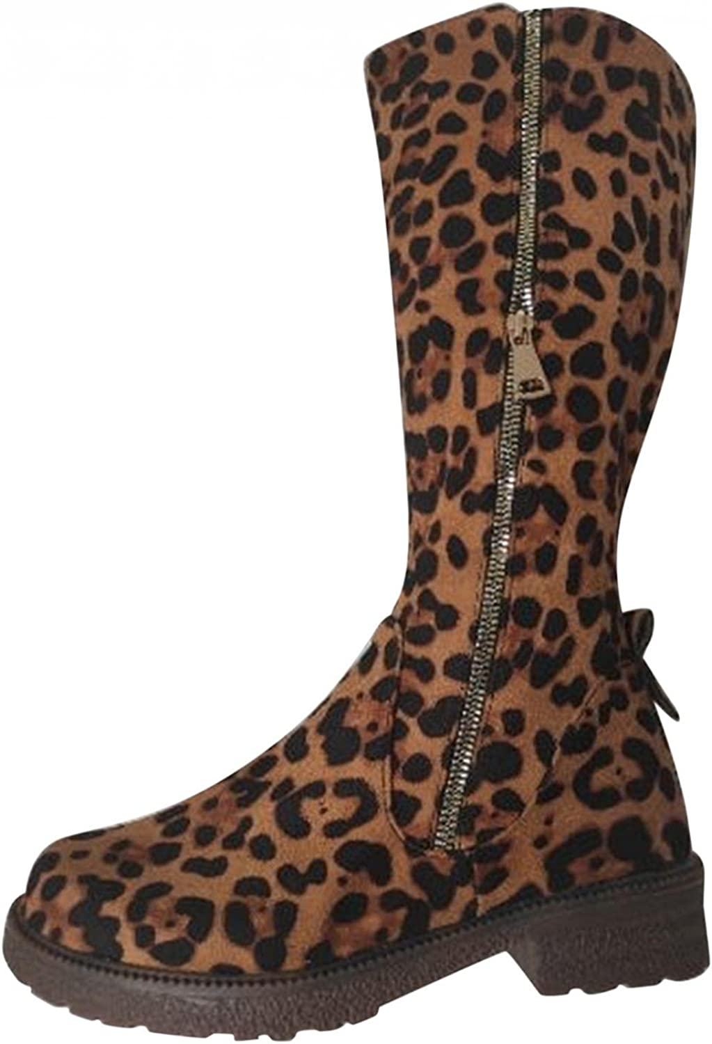 AIHOU Ankle Boots for Women Leopard Zipper Platform Boots Western Cowboy Cowgirl Mid Calf Boots Shoes Riding Boots