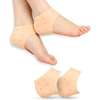 Ross Silicone Gel Heel Pad Socks for Pain Relief - 1 Pair (Beige, Free Size)