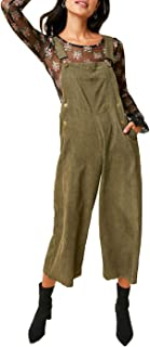 Womens Ribbed Corduroy Bib Front Wide Cropped Leg Overalls with Pockets