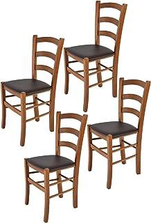 Tommychairs - Set 4 sillas Venice para Cocina y Comedor Estructura en Madera de Haya Color Nuez Claro y Asiento tapizado ...