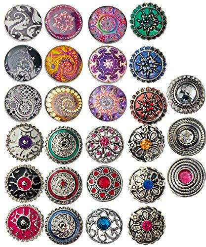Sunsa Click-Buttons Chunks Sieraden drukknopen klik Button Sieradenset van 27 drukknopontwerpen Dames Meisjes