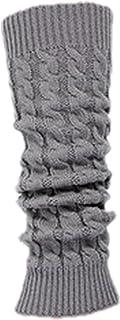 (R)Calcetin Leotardo Calentadores de pierna Cubierta de bota tejida de ganchillo de invierno de mujeres gris claro