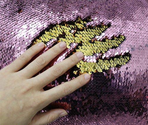 Zdada Mermaid Pailletten Fabric by The Yard Zwei Farben Flip up Reversible Pailletten Stoff für Kleidung Hochzeit/Abend Kleid DIY, Gold and Rose Pink, 90 cm breit x 120 cm lang, 1 Yard