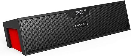 Altoparlante stereo Bluetooth, DBPOWER BX 100 LED indicatore portatile multifunzione, wireless, altoparlante, orologio, sveglia, radio, per Smartphone e altri dispositivi Bluetooth (Nero e Rosso)