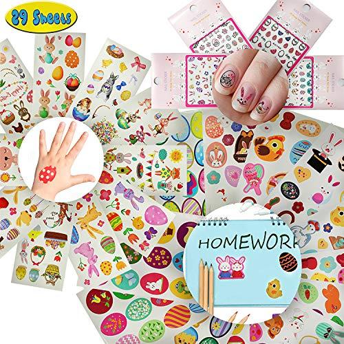 Pasen Stickers Konijn Ei Decoratie Lichaam Tijdelijke tatoeage Nagelsticker Bulk Set Vulstoffen voor kinderen Meisjes Tieners Volwassenen Jongens