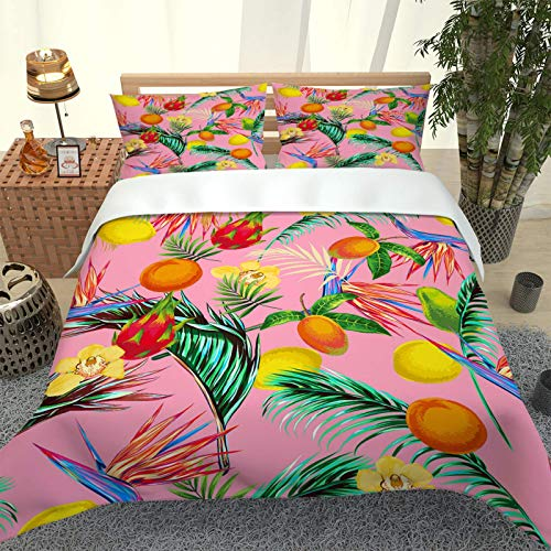 EWFIFZ Duvet Cover Super King Bed 260X240 Cm With 2 Pillowcases,Colored Fruit Leaves 3 Pcs With Zipper Closure + Christmas Quilt Cover - Ultra Soft Hypoallergenic Microfiber Quilt Cover Sets