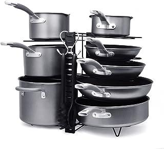Support de casseroles à 8 niveaux, support de casseroles peu encombrant, support de casseroles en fer robuste, organisateu...