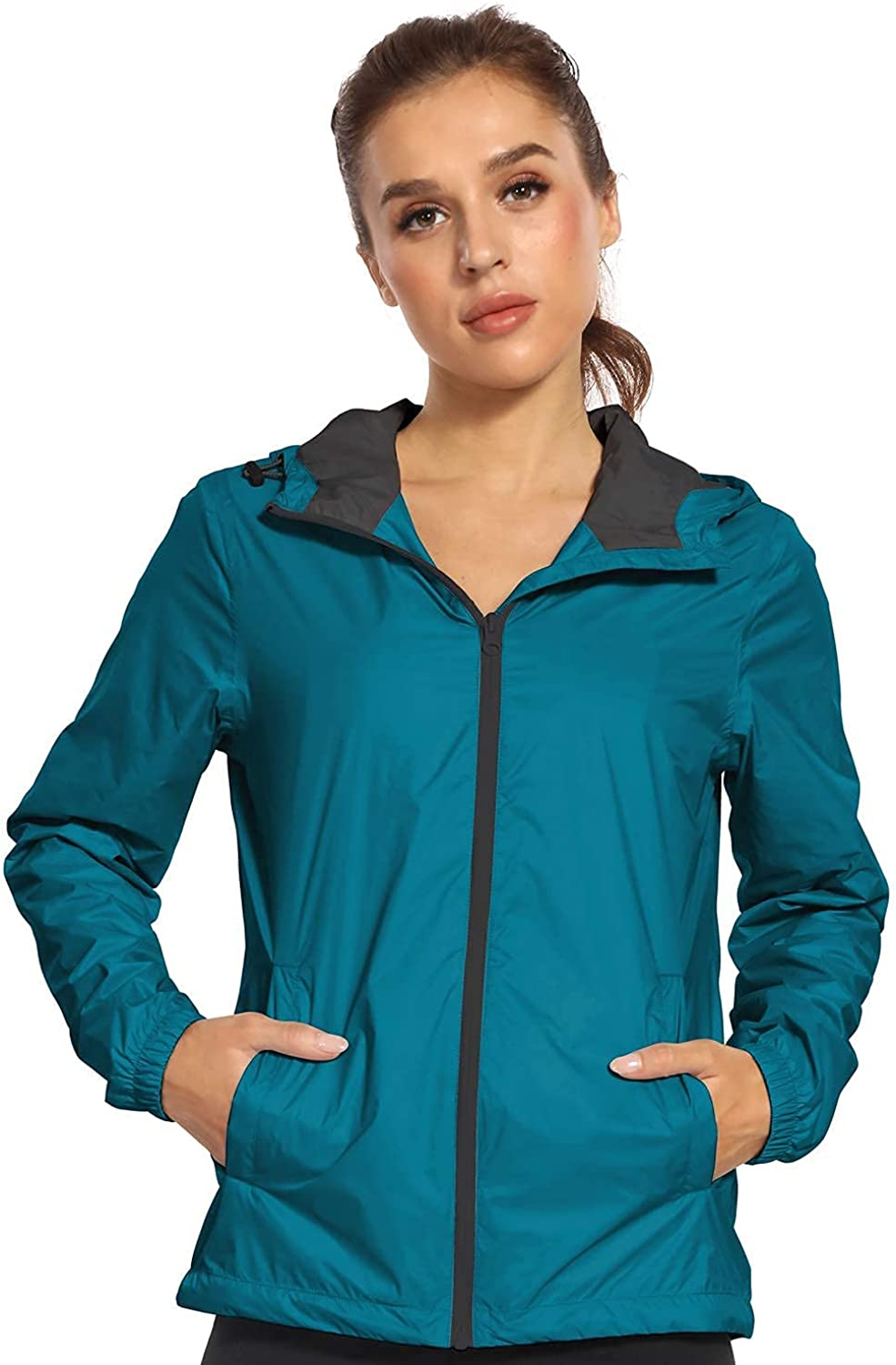 Freetrack Women's Packable Waterproof Lightwe Rain Jacket New color Zipper Free shipping anywhere in the nation