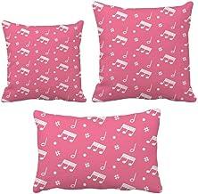 DIYthinker Conjunto de almofadas com notas musicais diagonais rosa, capa de almofada para sofá de casa