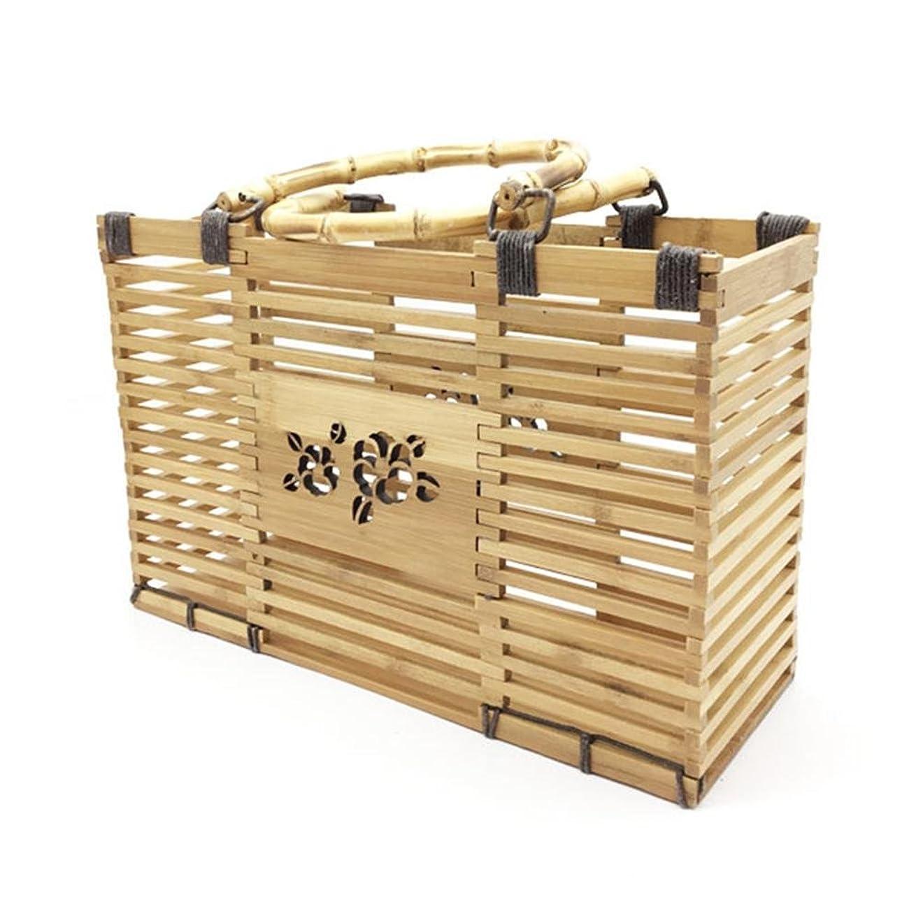 プレゼン重要な鮮やかなFarlong 手作りの砂浜竹製バッグ収納バッグ竹節包 休暇旅行ビーチバッグ シンプルなファッション