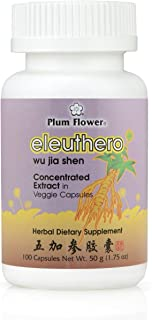 Eleuthero Root Capsules, Concentrated Extract - Wu Jia Shen, Siberian Ginseng, 100 Veggie Caps