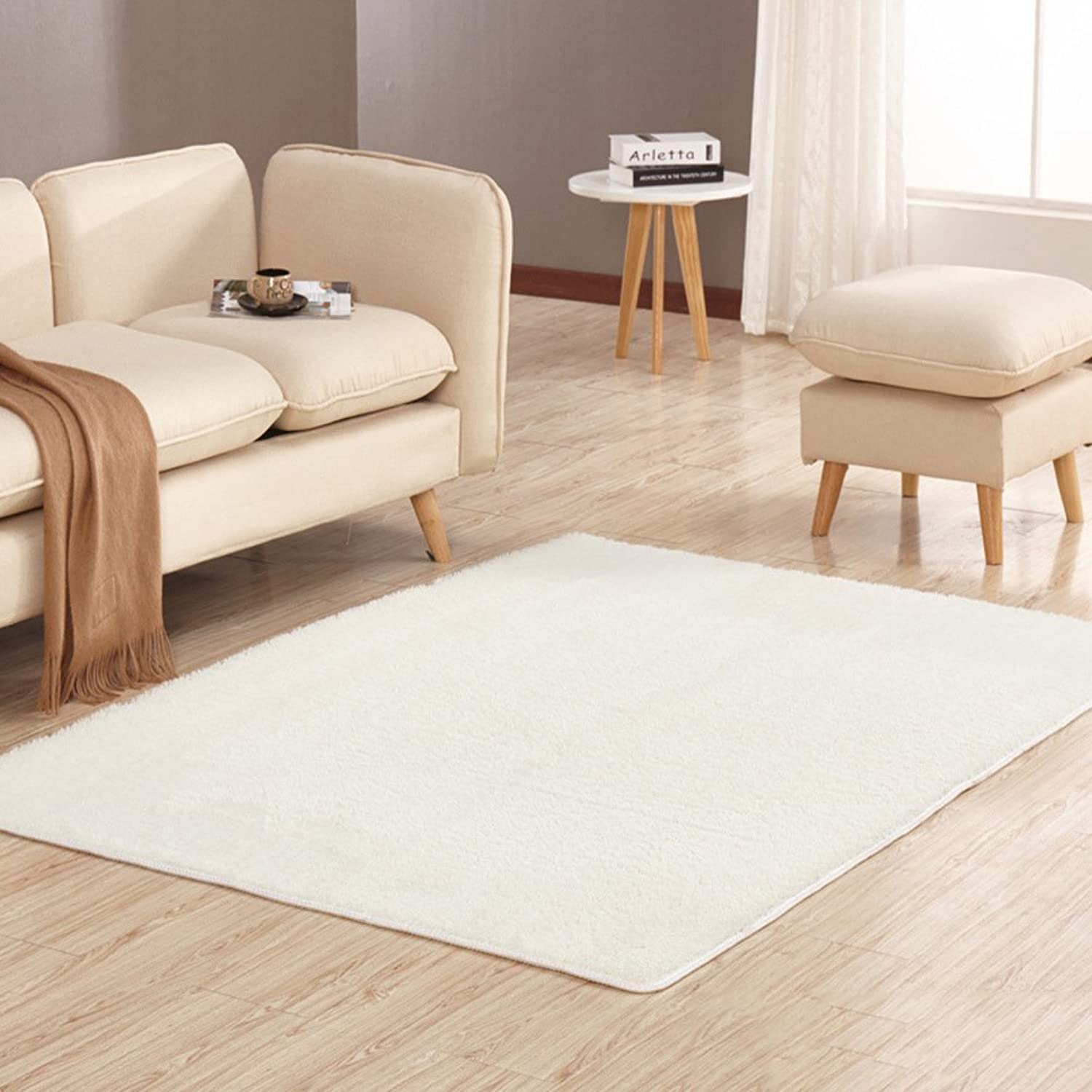 Solid color plush mat Living room Bedroom mats Anti-skidding Fastness Don't drop the mat.-D 100x160cm(39x63inch)