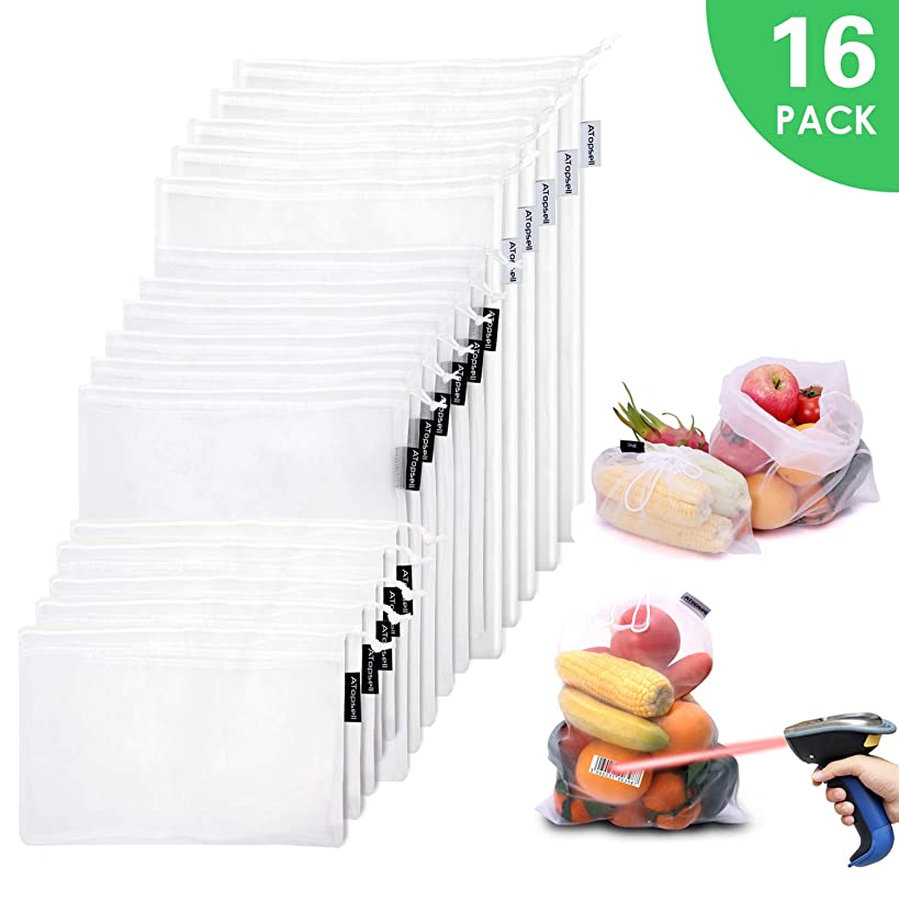 Atopsell Direct Scannable Reusable Mesh Produce Bags 100% Polyester Transparent Lightweight Washable Durable Bags with 3 Different Sizes for Storage Grocery Shopping (16 pack)
