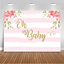Mocsicka Oh Baby Striped Floral Backdrop 7x5ft Vinyl Pink and White Striped Floral Baby Shower Photo Backdrops Oh Baby Party Event Decoration Banner Photo Shooting Prop Photography Background