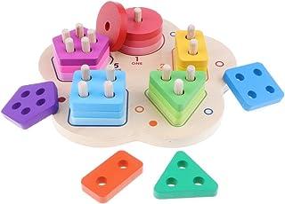 Lewo Formes /À Trier et /À Empiler Jeu de Tri Puzzle en Bois Jouets /Éducatif Formes Bloc G/éom/étriques Couleurs et Formes pour Les Enfants