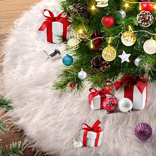 Alintor Weihnachtsbaumdecke, 78cm Christbaumdecke Weiß Plüsch Tannenbaum Decke, Weihnachtsbaumdecke Rund, Baumdecke für Tannenbaum, Weihnachtsdeko Schneeflocke Christbaumständer Teppich