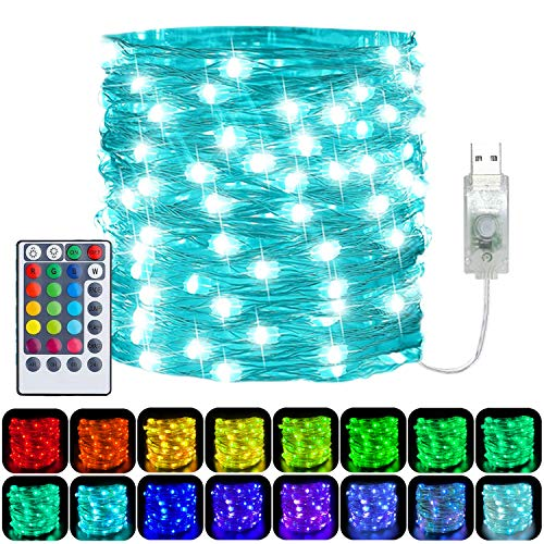 LED String Lights USB Powered,33Ft 100 LED Multicoloured Fairy Lights Colour Changing,4 Modes Waterproof Copper Wire Lights with Remote Timer for Indoor Garden Party Wedding Christmas Decor(16 Colors)
