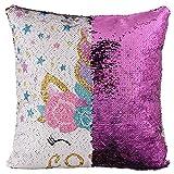 Chytaii. Fundas de Cojines para Sofa 45x45 Unicornio Lentejuelas Throw Pillow Case Almohada Sofá para Jardin Cama Decorativo