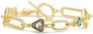Steve Madden Yellow Rhinestone Arrow Triangle Rectangle Link Toggle Lock Bracelet for Women