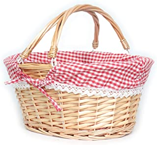 MEIEM Wicker Basket Gift Baskets Empty Oval Willow Woven Picnic Basket Easter Candy Basket Large Storage Basket Wine Basket with Handle Egg Gathering Wedding Basket (Pink)