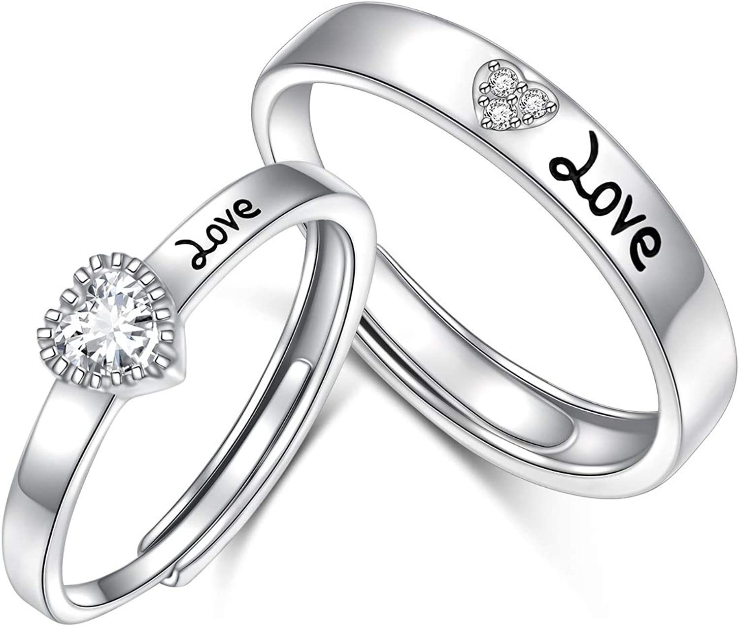 2PCS 925 Sterling Silver Adjustable Engage Promise San Antonio Mall Couples Rings Dallas Mall