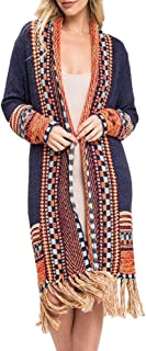 Ferbia Women Boho Cardigan Sweater Long Open Front Maxi Knit Sweaters Aztec Tribal Tassel Fringe Thin Coat