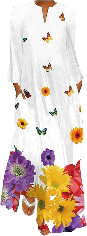ManxiVoo Women Autumn Maxi Dress Split V Neck Long Sleeve Floral Animal Long Maxi Dress