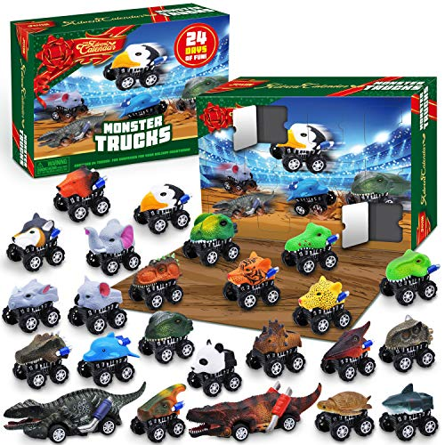 JOYIN 2020 Advent Calendar Kids Christmas 24 Days Countdown Calendar Toys for Kids with Monster Truck Toys Set